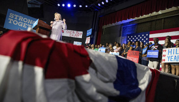 Democratic presidential candidate Hillary Clinton speaks to volunteers at a Democratic party organizing event at the Neighborhood Theater in Charlotte, Monday, July 25, 2016. (AP Photo/Andrew Harnik)