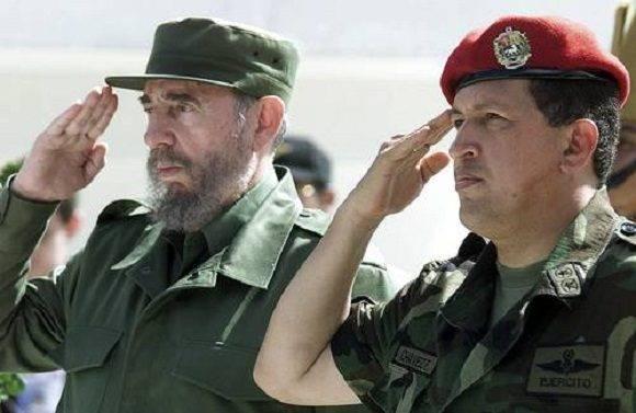 Fidel y Hugo Chávez.