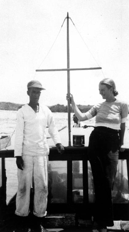 "EH 2820P Carlos Gutierrez and Jane Mason (Mrs. George Grant Mason) aboard Joe Russell's boat ""Anita"", 1933. (Image also accessioned as EH 8282P). Ernest Hemingway Photograph Collection, John F. Kennedy Presidential Library and Museum, Boston."