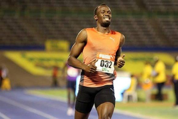 La cara de dolor de Usain Bolt.  Foto: Reuters .