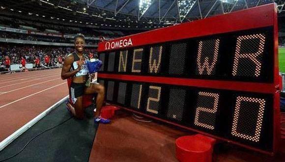 Keni Harrison superó  el viejo récord de Yordanka Donkova en los 100 metros vallas. Foto: Mundo Deportivo.