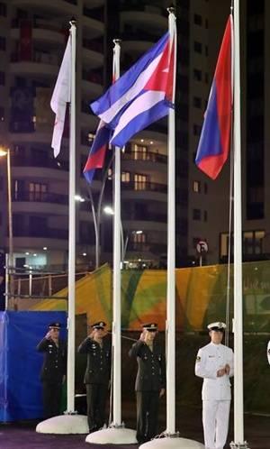 La bandera cubana ondea en Río. Foto: Jit
