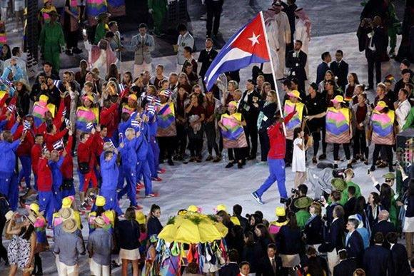 Entrada delegacion de Cuba durante la ceremonia de apertura de los Juegos Olímpicos de Río de Janeiro, en el estadio olímpico Maracaná, Brasil, el 5 de agosto de 2016. Foto: Roberto Morejón/ Jit.
