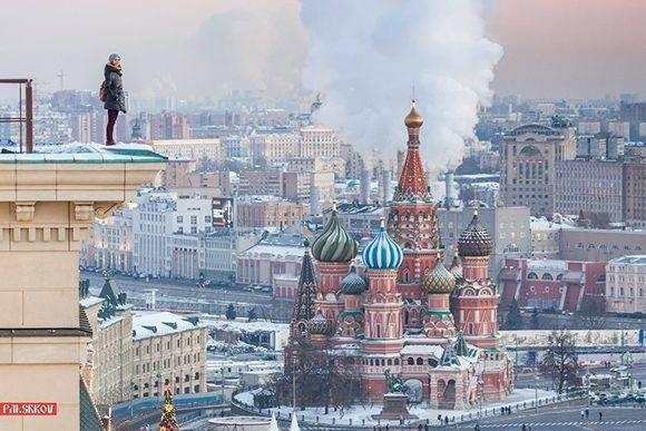 En la azotea de un edificio próximo a la Plaza Roja, Moscú.