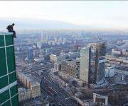 En la azotea de una torre del Centro Internacional de Negocios de Moscú.