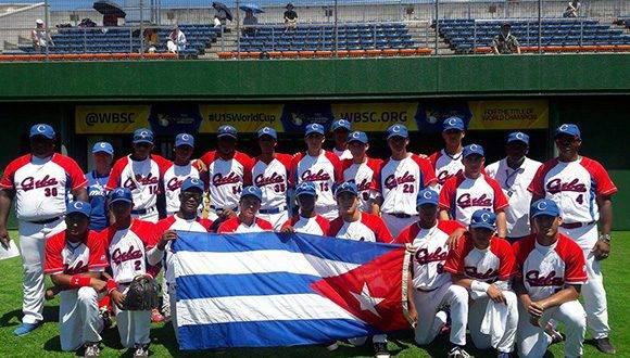 Equipo cubano aue retuvo el cetro en la Copa Mundial de Béisbol sub 15. Foto tomada de Twitter.