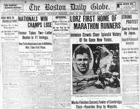 The Boston Daily Globe informaba de la victoria de Fred Lorz. Foto tomada de www.explodeded.com