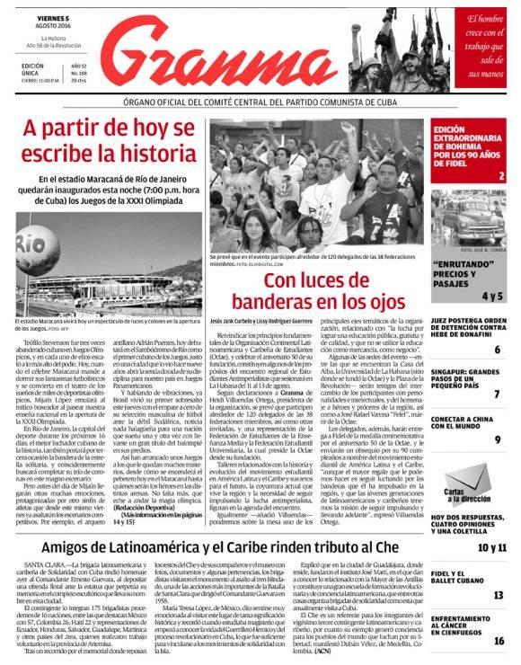 Periódico Granma, viernes 5 de agosto de 2016