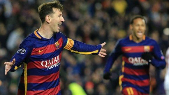Leo Messi celebra uno de sus goles ante la Roma. Foto tomada de rpp.pe