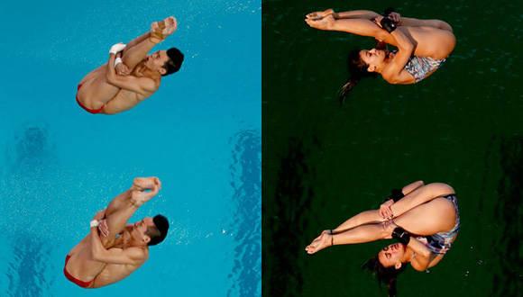 La piscina de salto olímpico el 8 de agosto (izquierda) y el 9 de agosto (derecha). Foto: AP