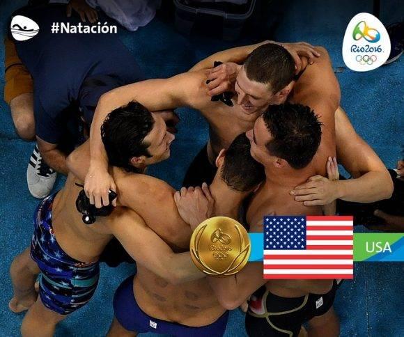 Relevo 4x100 metros combinado masculino con Phelps en Rio 2016