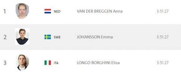 Medallistas de la prueba femenina del ciclismo de ruta. Foto: captura de pantalla del sitio oficial del evento.