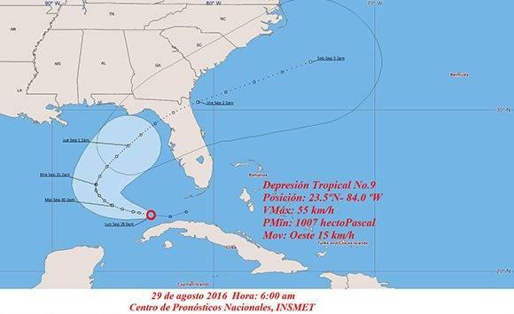 Posible recorrido para la depresión tropical no. 9. Imagen: INSMET.