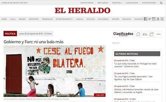 Portadas de diferentes medios de prensa celebran la paz colombiana.