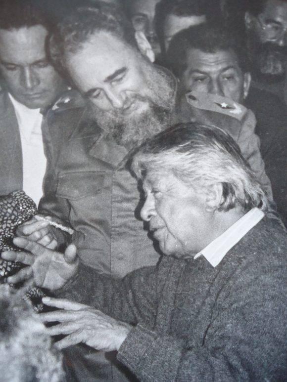 Fidel y Guayasamín. Foto: José Dos Santos.