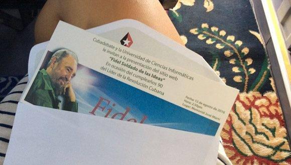 Invitación a la presentación del sitio fidelcastro.cu, que tuvo lugar en el Memorial José Martí. Foto: María del Carmen Ramón/ Cubadebate.