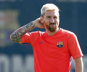 Messi, en medio de un entrenamiento. Foto: EFE.