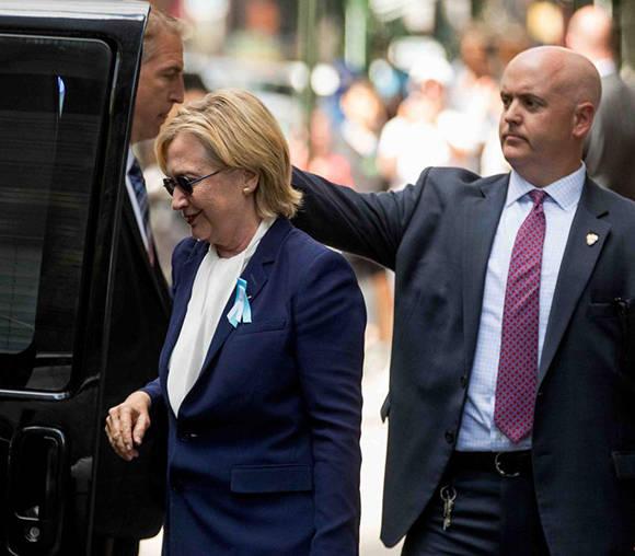Diagnostican neumonía a Hillary Clinton tras desvanecimiento en acto del 9/11
