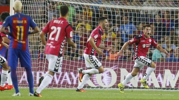 Ibai Gómez celebra su gol contra el Barcelona. Foto tomada de MARCA.
