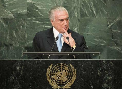 Michel Temer en la ONU. Foto: AFP.