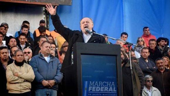 Pablo Micheli, líder de la Central de Trabajadores de Argentina. Foto: Nicolás Stulberg/ TeleSur.