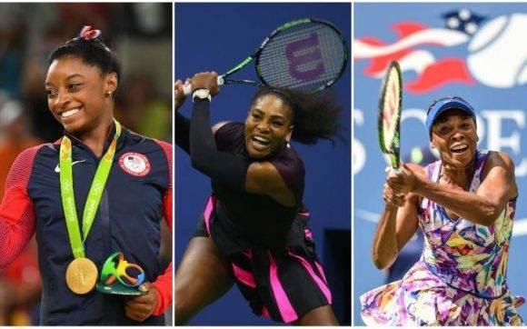 Simone Biles, Serena y Venus Williams. Imagen tomada de The Telegraph.