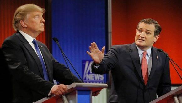 Trump y Cruz durante un debate celebrado en marzo pasado. Foto: Reuters.
