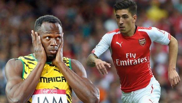 Usain Bolt y Héctor Bellerín. Foto tomada de factorrunning.com