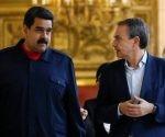 Rodríguez Zapatero (der), con Nicolás Maduro en la anterior visita del político español el pasado mes de julio en el Palacio de Miraflores. Foto: Reuters.