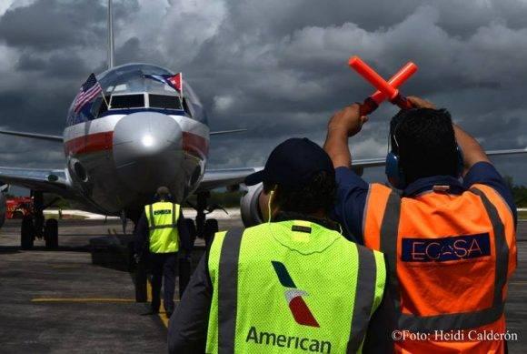 El primer vuelo de American Airlines llegó a Holguín. Foto: Heidi Calderón