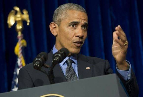 Barack Obama habla durante la rueda de prensa que dio al término de la cumbre de la ASEAN, este jueves 8 de septiembre en Vientián, la capita de Laos. Foto: AFP.