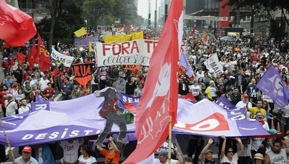 Paro nacional en Brasil. Foto: redebrasilatual.