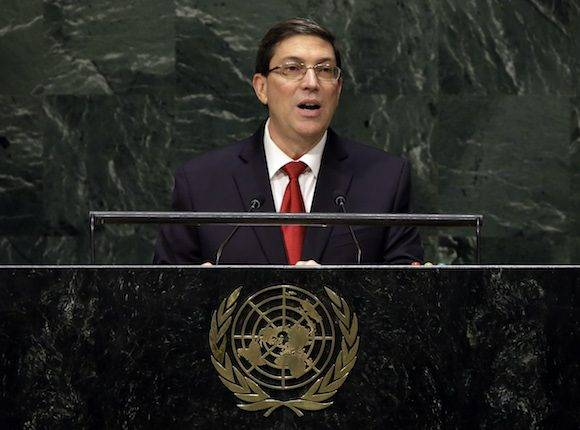 Foreign Minister Bruno Rodríguez Parrilla, of Cuba, addresses the 69th session of the United Nations General Assembly, at U.N. headquarters, Saturday, Sept. 27, 2014. (AP Photo/Richard Drew)