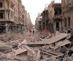 calle en alepo después de combates