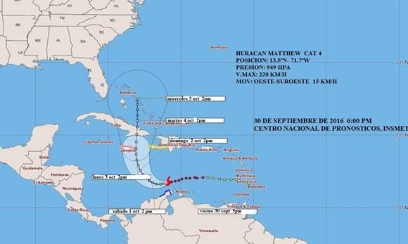 Matthew se convierte en potente huracán categoría cuatro