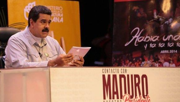 """El presidente venezolano en el programa de radio y televisión """"En contacto con Maduro"""". Foto: La Patilla."""