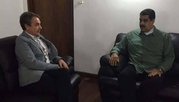 Presidente de Venezuela Nicolás Maduro Moros se reúne con el expresidente español José Luis Zapatero. Foto: Delcy Rodríguez en Twitter.