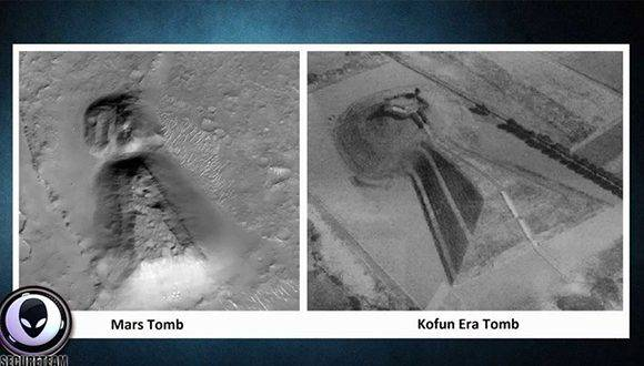 Un cazador de ovnis llama la atención sobre la similitud entre la tumba Kofun Era, en Japón, y un montículo con forma de ojo de cerradura ubicado en el planeta rojo. Foto: Captura de pantalla/ RT.