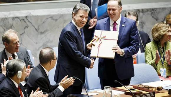 Entrega Santos acuerdo de paz ante Consejo de Seguridad de la ONU