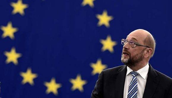 El presidente del Parlamento Europeo, Martin Schulz, previo a la sesión sobre el Acuerdo de París sobre el clima, hoy en Estrasburgo. Foto: AFP.