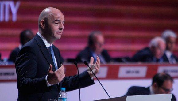Gianni Infantino toma la palabra en el 66 Congreso de la FIFA. Foto: Benjamín Flores