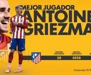 Griezmann, mejor jugador. Foto: LaLiga Santander.