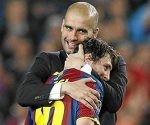 Guardiola y Leo Messi