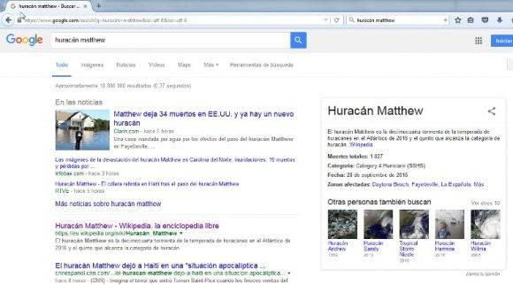 """Cuando buscabas """"huracán Matthew"""" en google, te salía esto."""