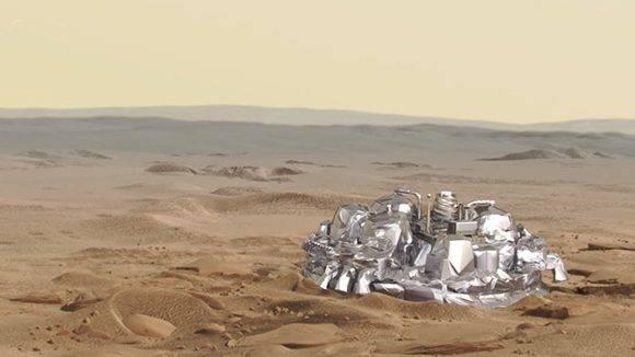 Imagen virtual del módulo de ExoMars en la superficie de Marte. Imagen: ESA