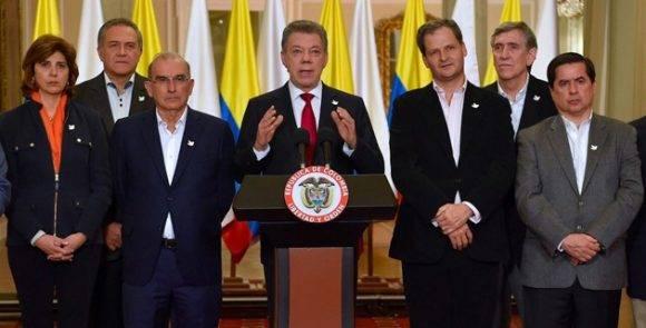 Juan Manuel Santos habla desde el Palacio de Nariño tras el triunfo del NO en el Plebiscito. Foto: Presidencia de Colombia