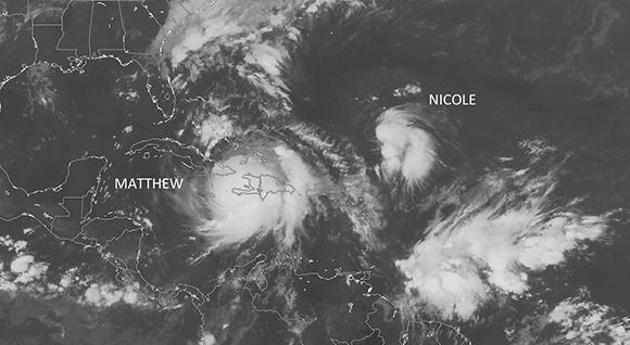 Nicole es la décimocuarta tormenta tropical de esta temporada. Imagen: @KeraunosObs.