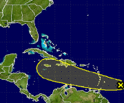 Este es el posible recorrido de la onda tropical. Fuente: NOAA.