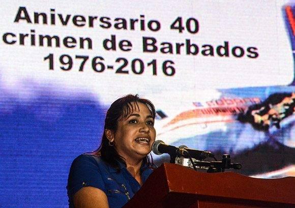 Sucelys Morfa González, Primera Secretaria de la Unión de Jóvenes Comunistas (UJC) , durante su intervención en el acto político cultural por el Día de las Víctimas del Terrorismo de Estado, y en ocasión del Aniversario 40 del Crimen de Barbados, realizado en el Teatro Lázaro Peña, en La Habana, el 6 de octubre de 2016. ACN FOTO/ Abel PADRÓN PADILLA/ rrcc