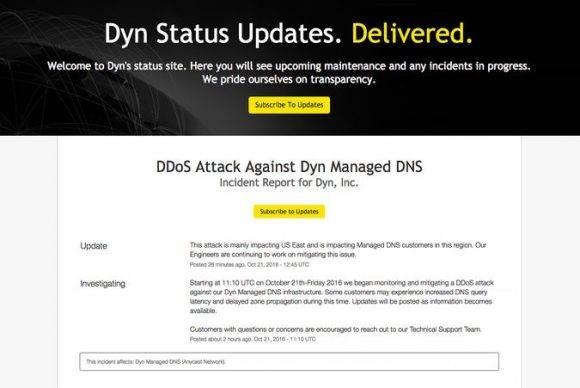 Elaviso de Dyn en su página web sobre el apagón.